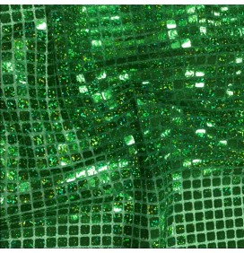 Square Sequins Fabric Hologram emeral Green