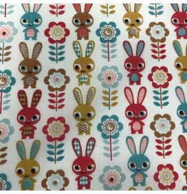 Polycotton Fabric Rabbit Prints