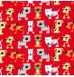 Polycotton Cat Prints Red