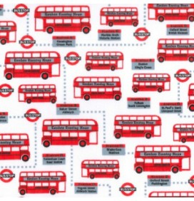 Polycotton Fabric London Buses