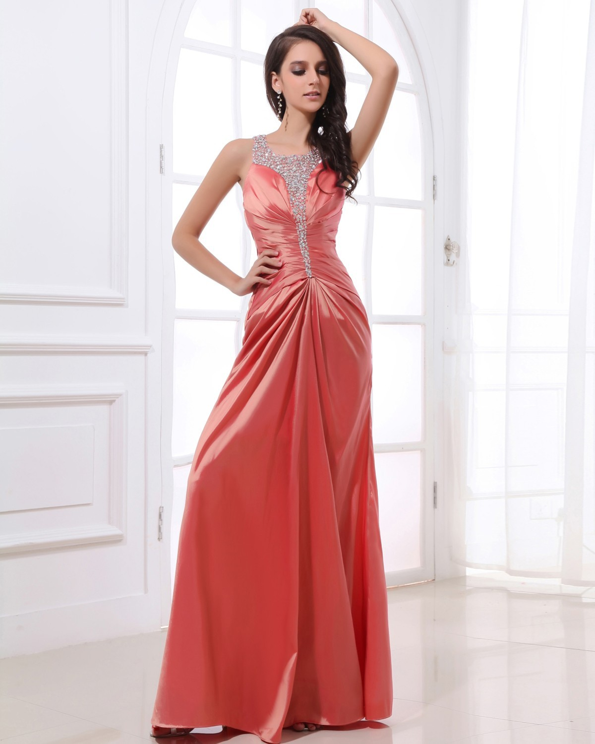 Evening Dresses from Satin Fabric by Leopold Terence