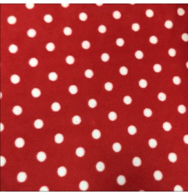 Polko Spots on Fleece Fabric Red with White Spots