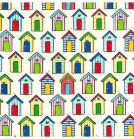 Polycotton Print – Beach Huts Cream
