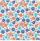 Polycotton print – floral design Turq
