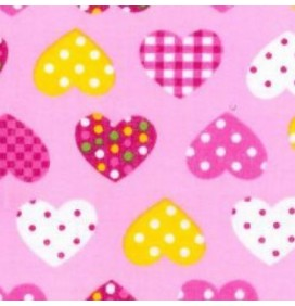 Polycotton Fabric Dotty Hearts