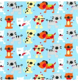 Polycotton Fabric Cat Prints