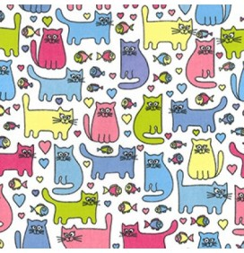 Polycotton Fabric Cats with Fish