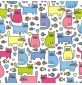 Polycotton Animal Design - Cats with Fish White