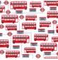 Polycotton Prints - London Buses White