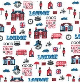 Polycotton Fabric Good Morning London