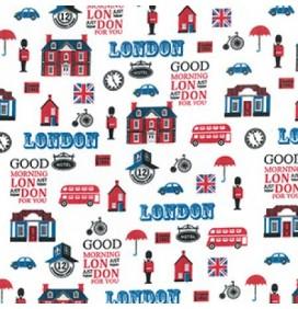 Polycotton Fabric Good Morning London
